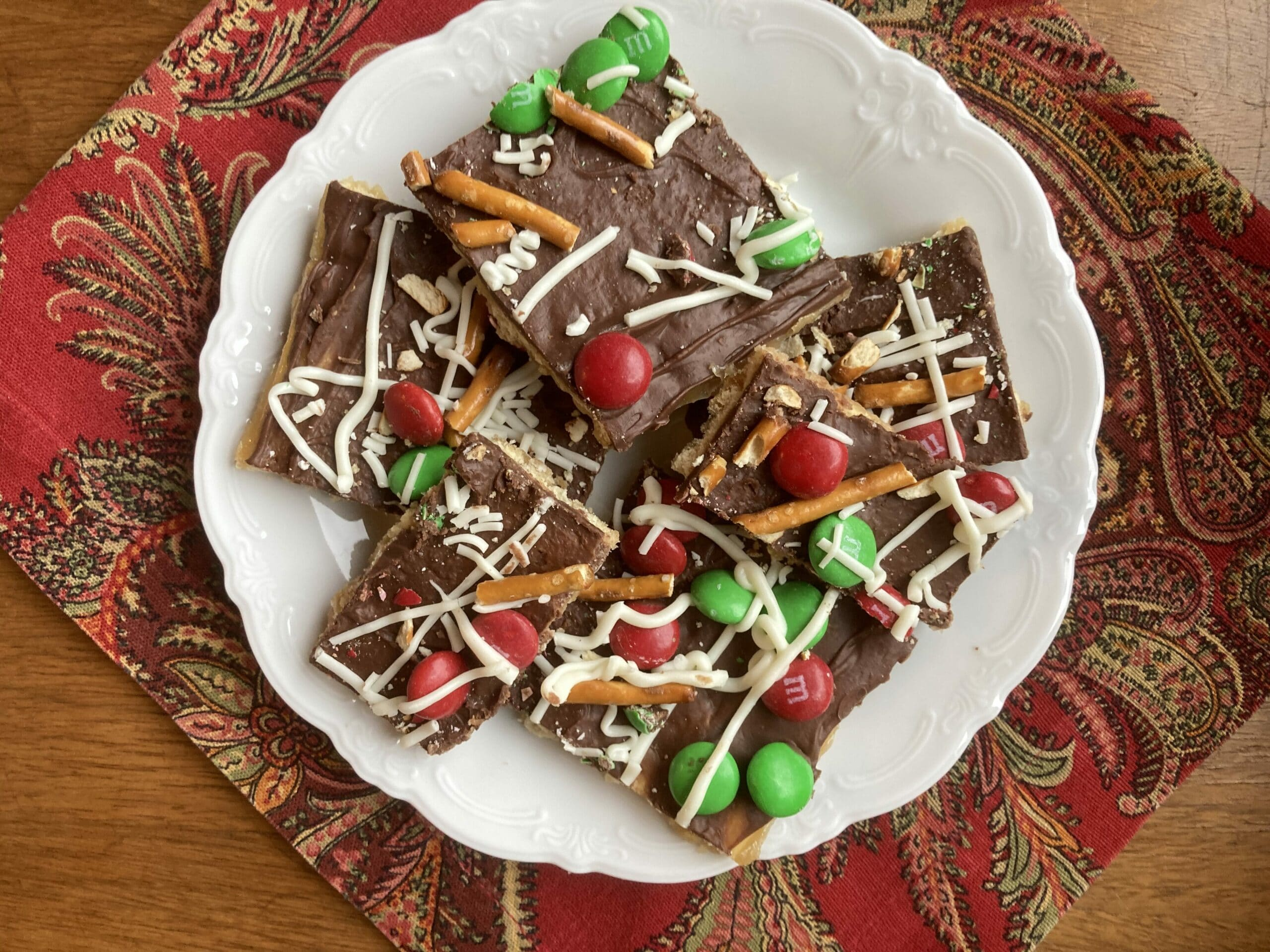 Chocolate candy with pretzels and M&M's