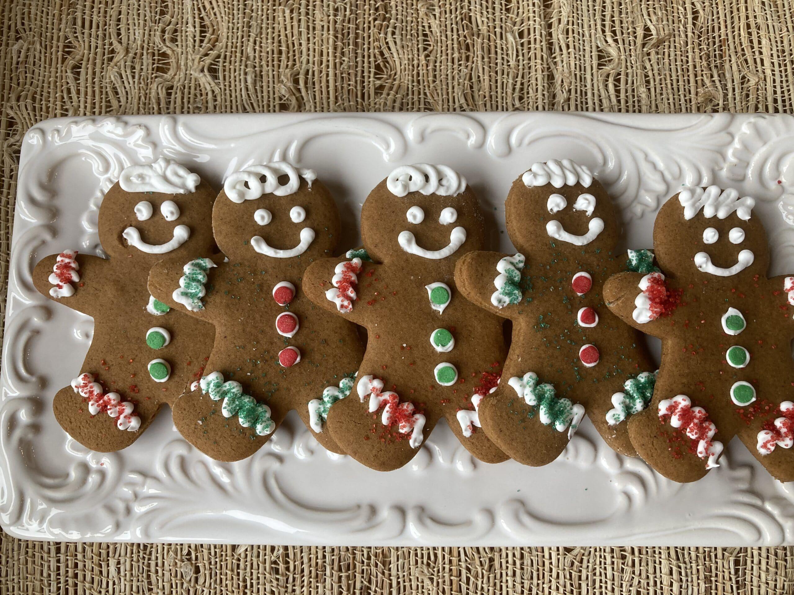 Gingerbread men cookies on platter