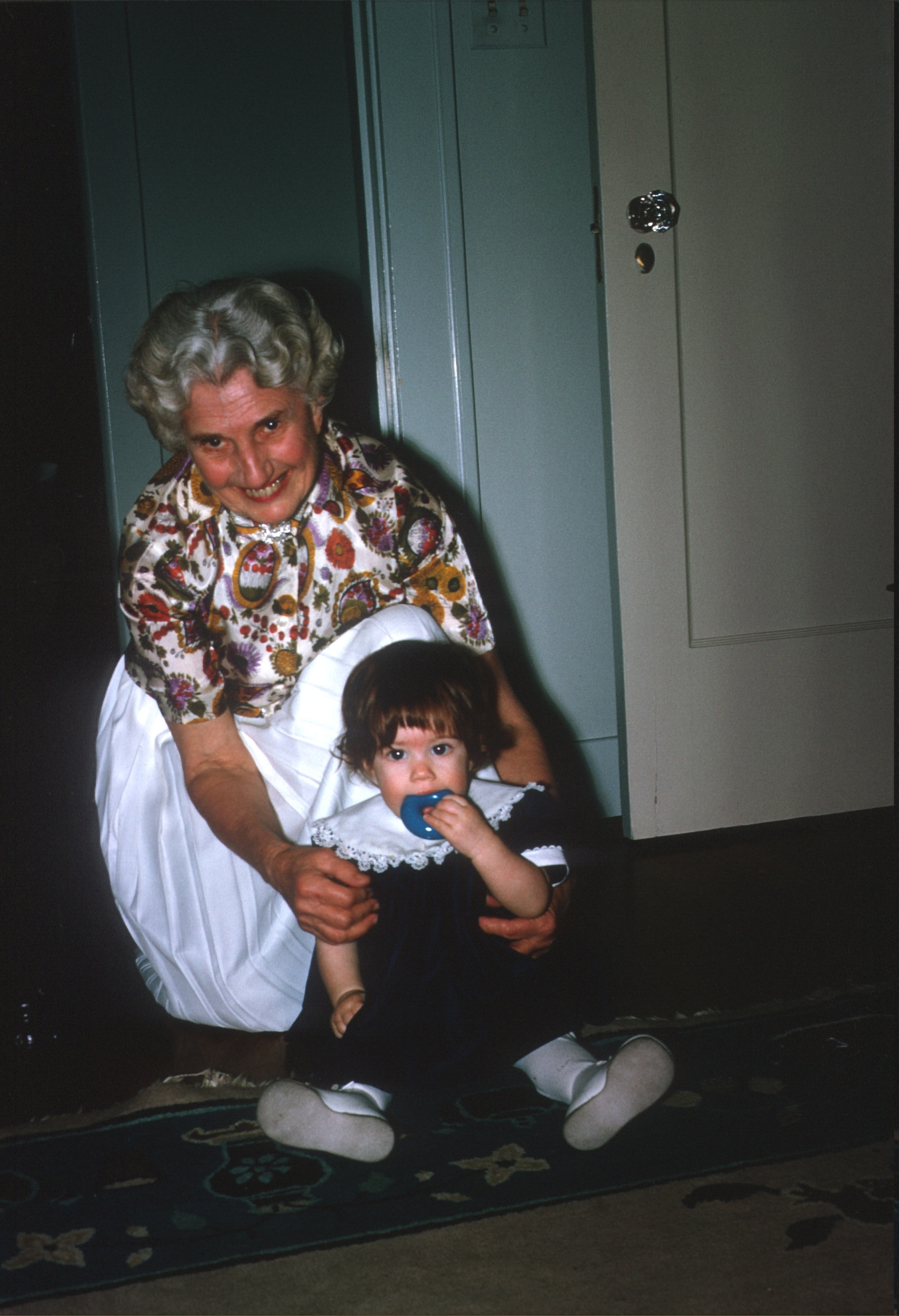 Older woman and toddler girl