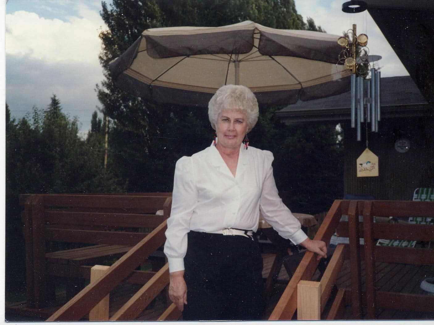 Middle aged woman on steps