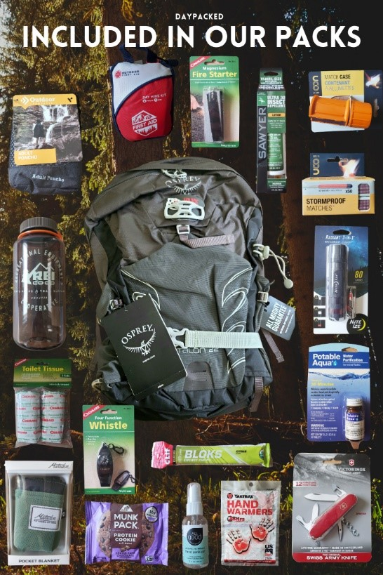 Hiking supplies for backpack
