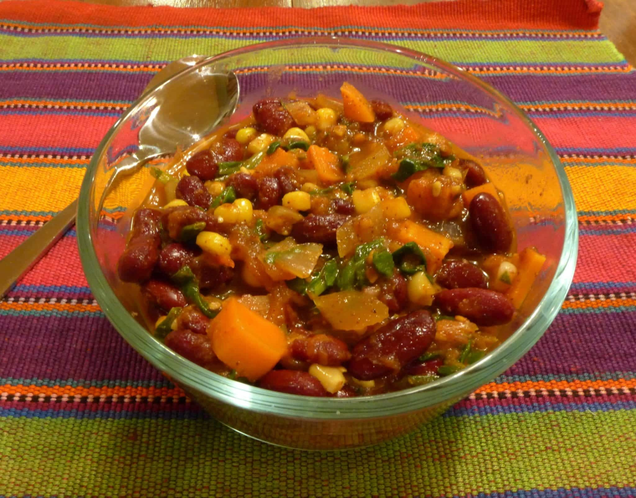 Bowl of colorful chili