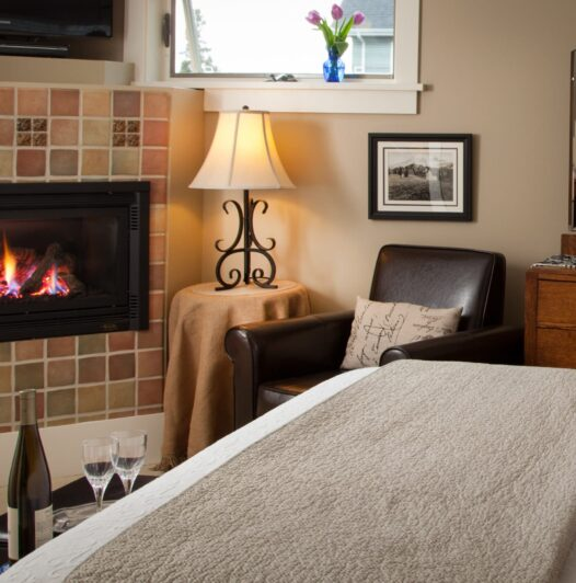 Bed in front of fireplace
