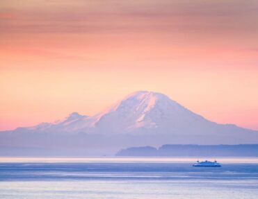 Puget sound early in the morning during sunrise on Mt. Rainier