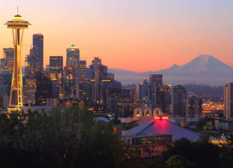 Seattle, Washington with space needle and mountains in background