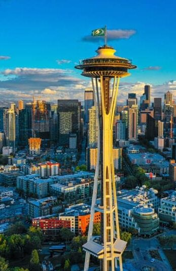 The Space Needle stands tall and proud on a clear day in Seattle