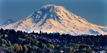 Mt. Rainier covered in snow as seen from Puget Sound
