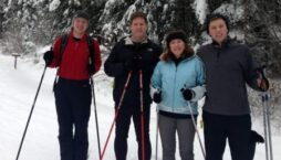 The innkeeper and her family enjoy a leisurely cross country ski