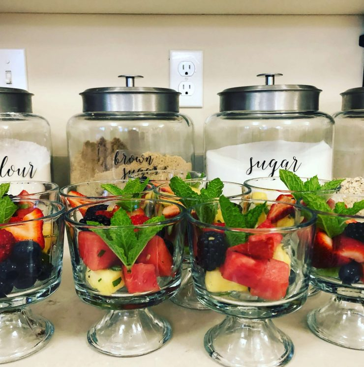 Breakfast prep-fruit cups with mint