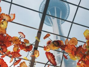 Exotic plants grow in the atrium below the space needle