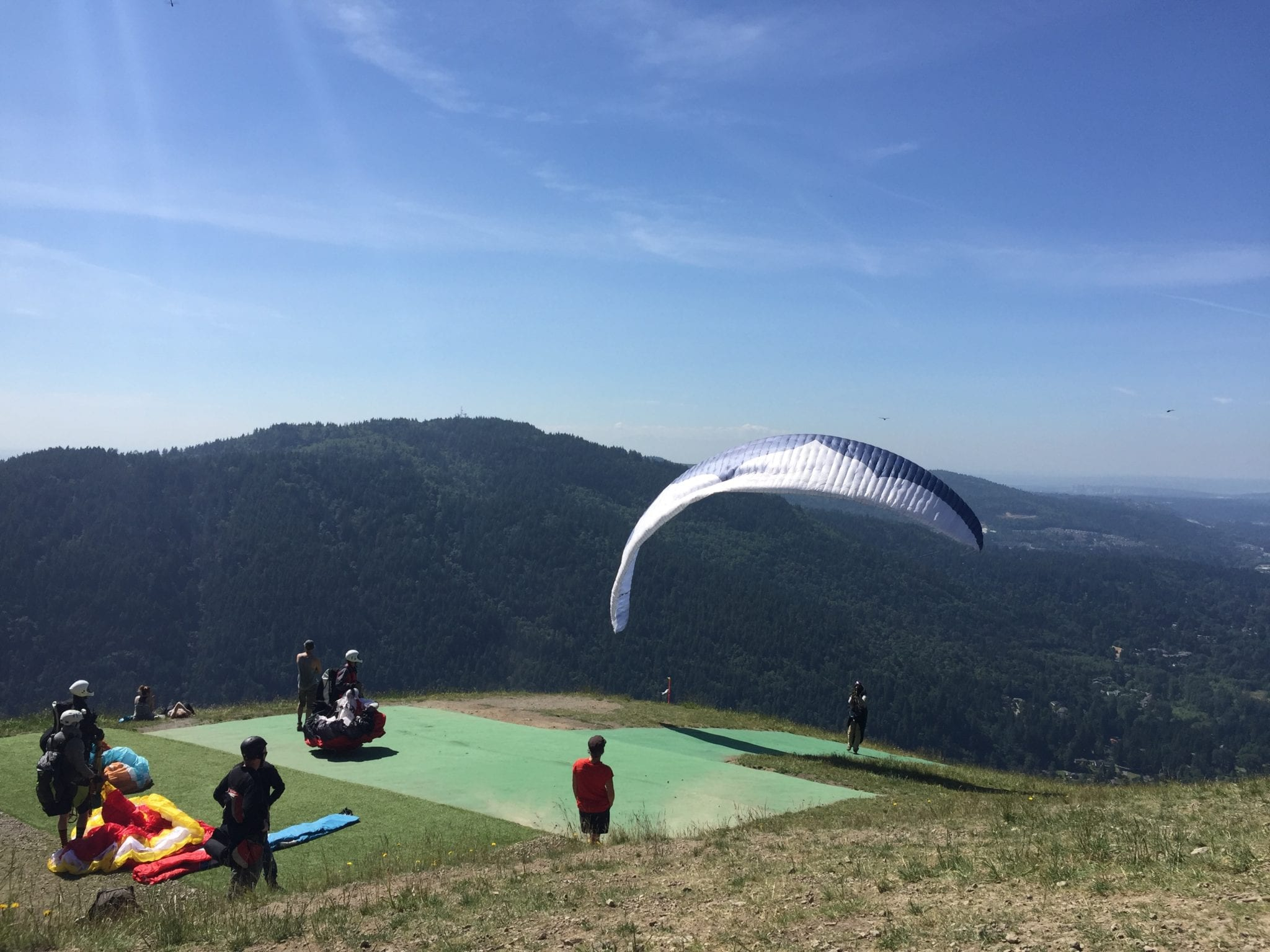 Paragliders in the Cascade Foothills